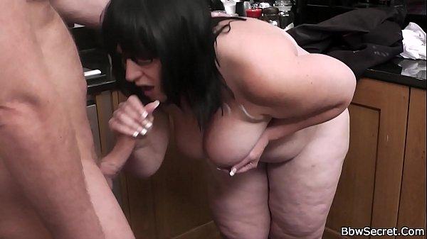 He doggy-fucks BBW at the kitchen Thumb