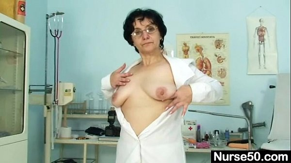 Old lady head nurse kinky hairy pussy spreading  thumbnail