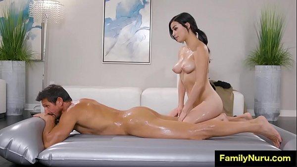 Horny stepdaughter massage daddy