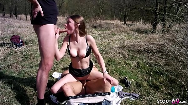 ANOREXIC GERMAN TEEN in Real MMF Threesome Outd...