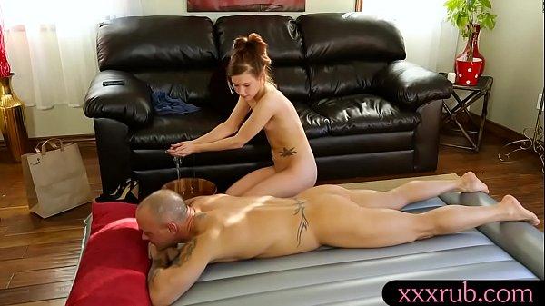 Tiny boobs masseuse Alaina Dawson pounded by client