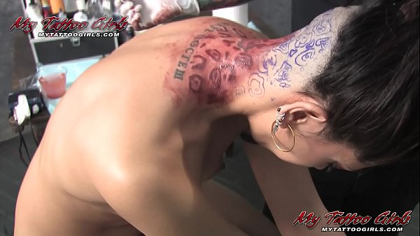Tattooed Model Satine Gets her hair cut and Tattoo