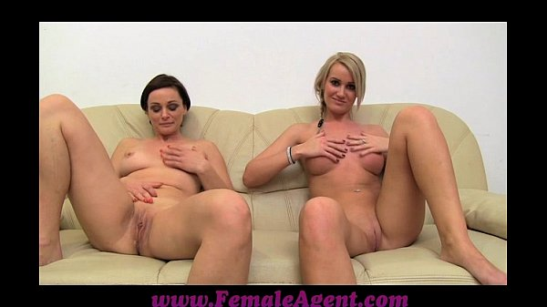 FemaleAgent MILF masturbates with lucky girls on the couch Thumb