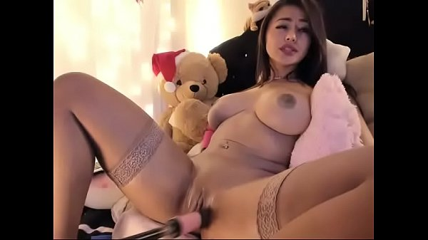 Busty Latin bitch let robot toy fucking pussy o...