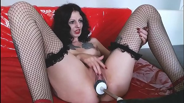 Crazy slut gets her cunt fucked with a toilet brush
