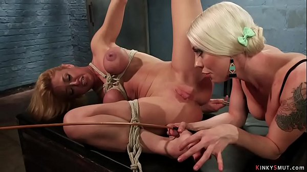 Bound big tits lesbian anal fucked