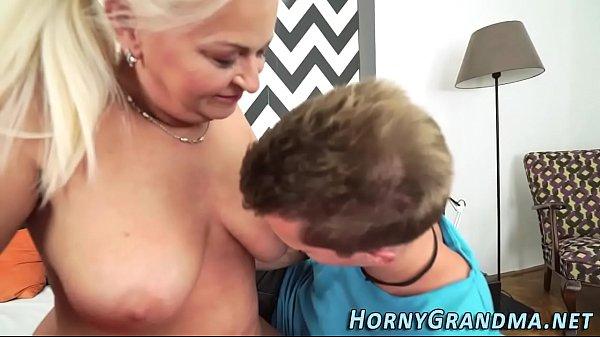 Busty grandma facialized