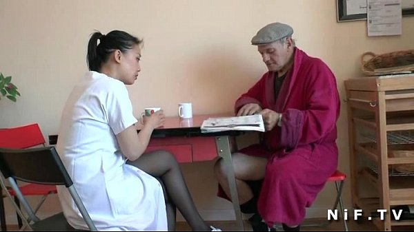 French old man Papy Voyeur doing a young asian nurse Thumb