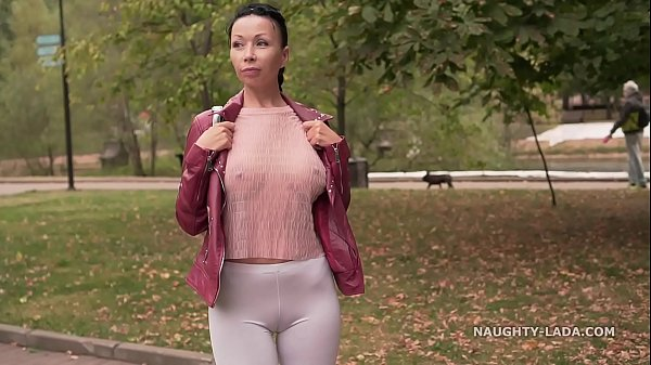 Thin white tight leggings and sheer blouse… Did you check out my cameltoe ;)? Thumb
