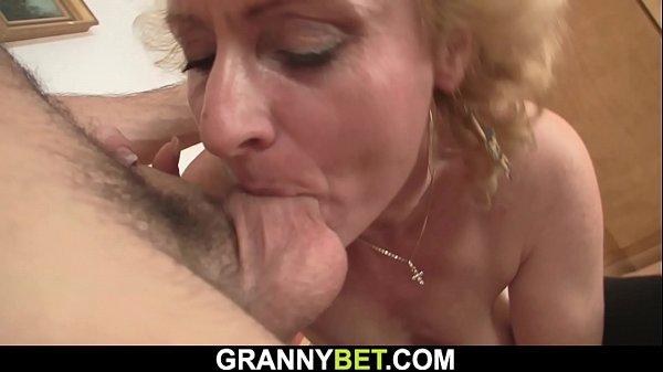 He picks up skinny granny blonde for sex