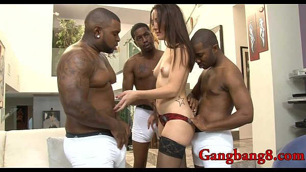 Hottie double fucked by big black dicks