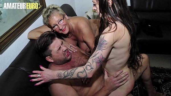 AMATEUR EURO - German Big Tits Matures Sucks And Rides Cock In Hardcore FFM Sex (Erna &  Adrienne Kiss) Thumb