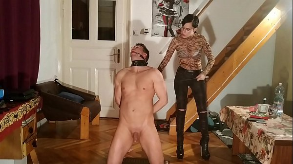 Slave training & humiliation by sexy slim domin...