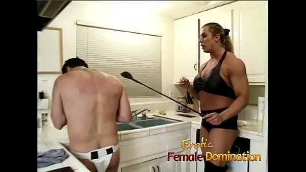 Angry dominatrix with big muscles hurts her husband really bad Thumb