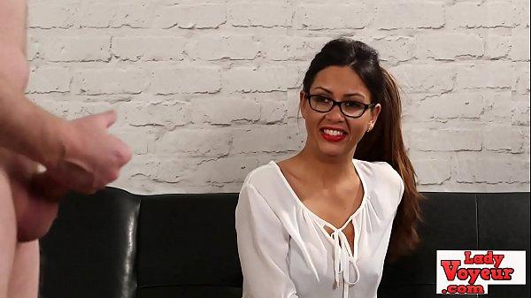 Spex slut laughs at cock jerking sub