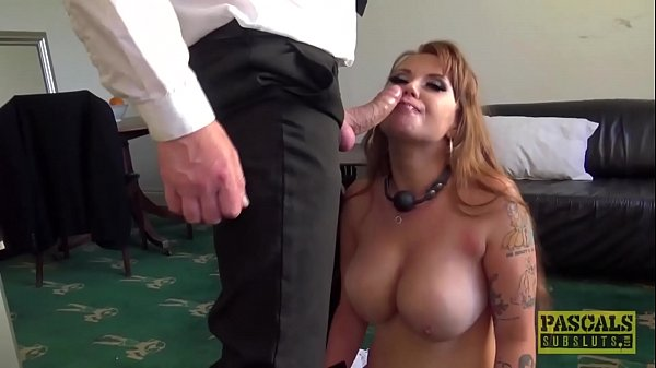Roughly fucked redhead begging master for cum in mouth