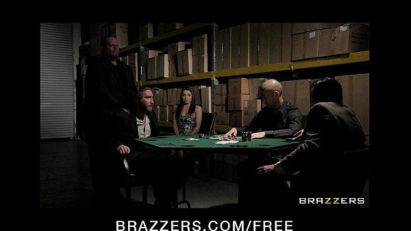 Horny brunette wife in lingerie fucks to pay husband's poker debt