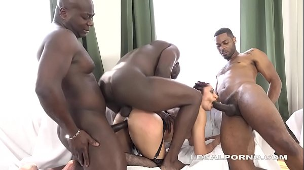 Monster Cock Lover Dana Santo vs 4 black bulls ...