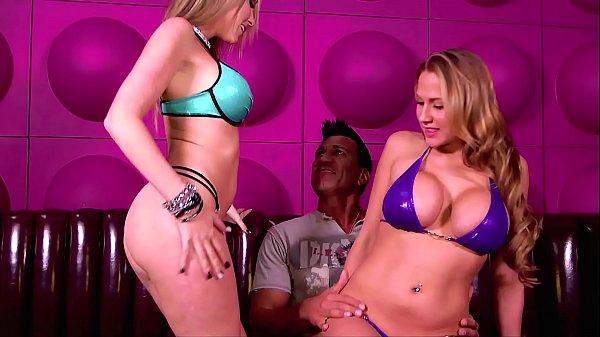 Stripper School! Busty Bikini Blonde gets introduced to FFM Threeways, Titty Fucking & Double Blowjobs