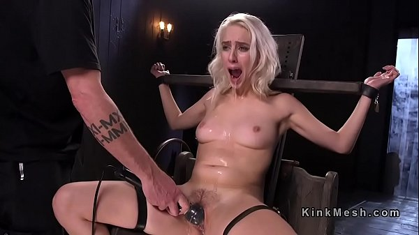 Blonde slave hard flogged and gagged with dildo in bdsm Thumb