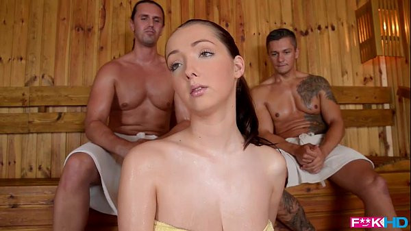 FuckinHD - Lucie Wilde hot Fuck with 2 guys in the Sauna Thumb