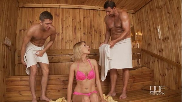 Beautiful Russian cutie Karina Grand Double penetrated in Sauna Thumb