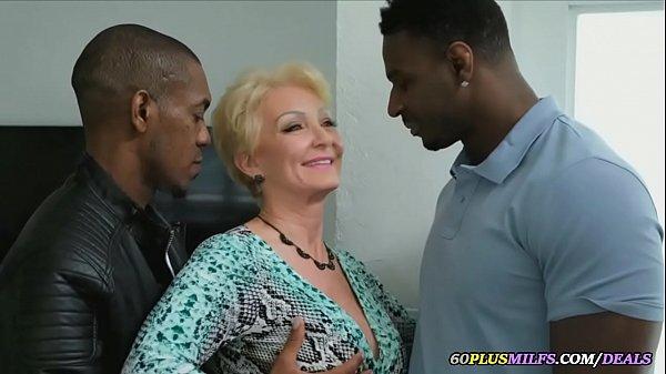 grandma gets fucked by two big black cocks