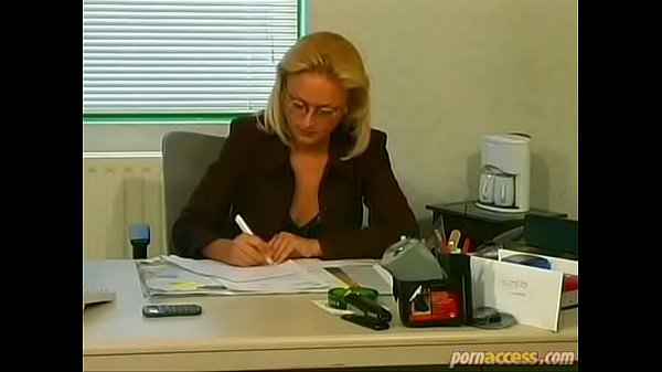 Decent blonde wife with glasses cheats with her ugly colleague in office Thumb