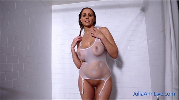 Sexy Milf Julia Ann Lathers Her Big Tits in Shower! Thumb