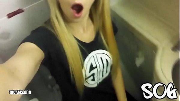 Blonde Public Masturbating Airplane Bathroom Real Amateur Thumb