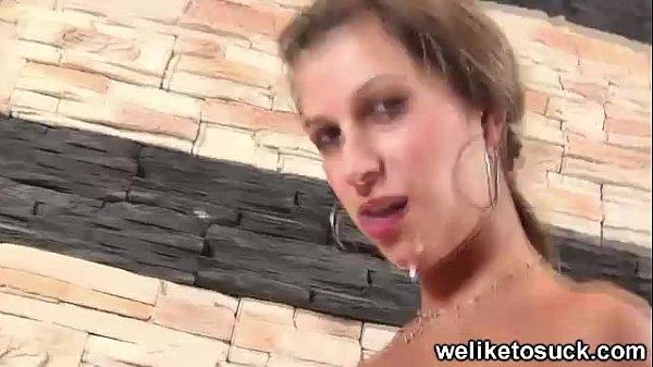 Sexy russian sucks cock
