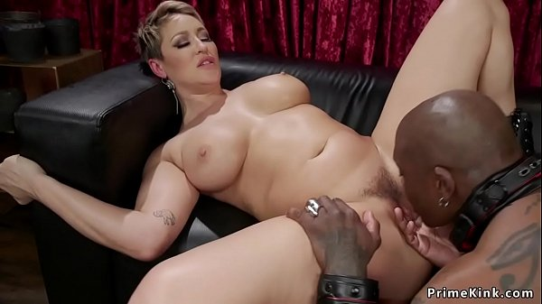 Busty Milf massage prostate to black