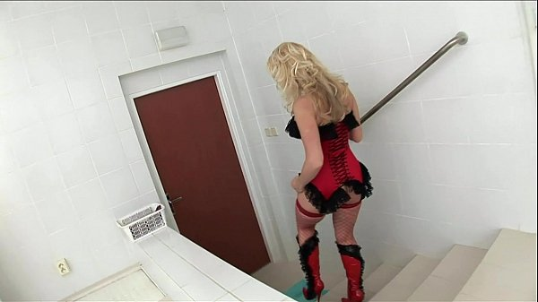 Cindy fucking in red fishnet nylon and a corset