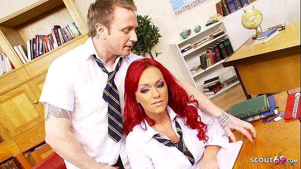 Redhead Big Tits Bombshell Schoolgirl Rough Sex with Classmate