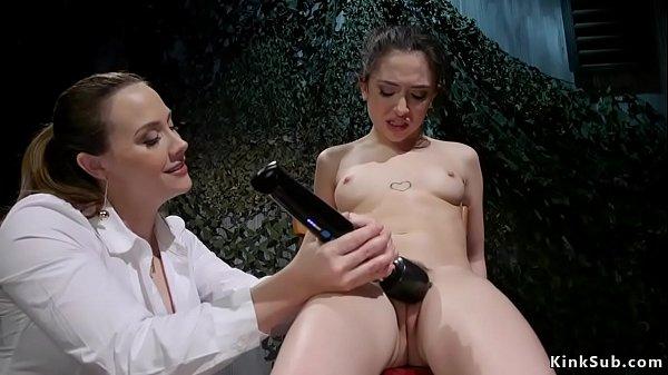 Busty lesbian agent anal fucks recruit