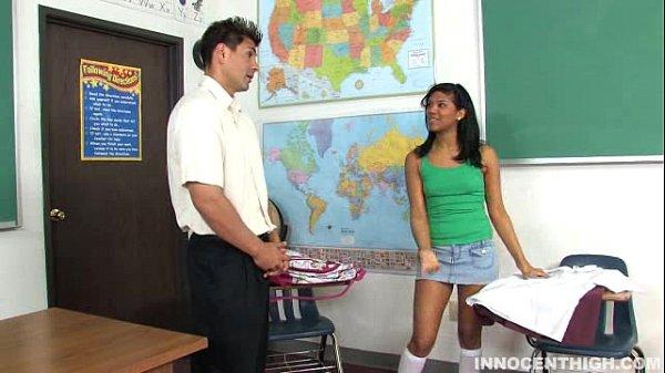 Innocent brunette girl Emy Retes gets fucks her teacher to avoid punishment