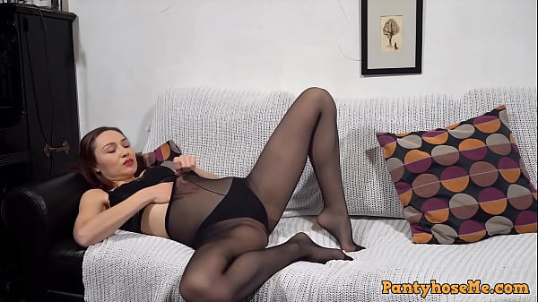 Sexy Long Hair Slut In Black Bra, Panties and Pantyhose Teasing On The Couch Thumb