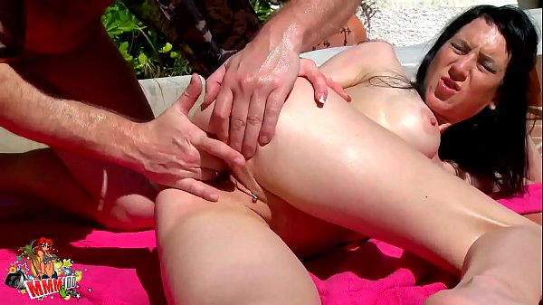 Skinny Milf babe gets oiled and fucked by the pool Thumb