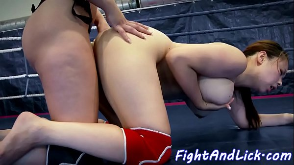 Wrestling busty asian les gets strapon fucked