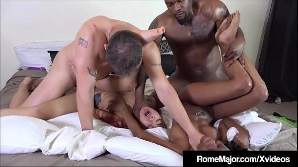 2 Tight Ebony Babes Banged By Rome Major & Tomm...