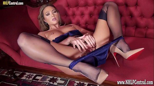 Blonde nylon lingerie heels pussy tease Thumb
