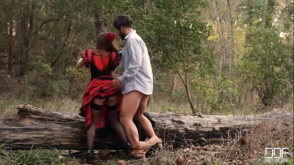 Russian brunette takes cock in the woods dressed as a flamenco dancer Thumb