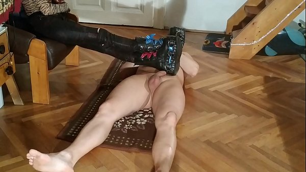 Sexy domina do CBT ball & cock stomping in huge boots pt2 HD Thumb