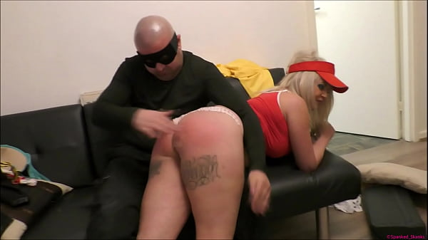 Bratty blonde pizza-delivery girl gets her big bum spanked red raw | Tied-up tightly | Then strapped in a nappy (diaper) to punish & humiliate her!