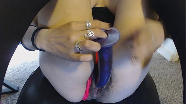 Young Hairy Pussy in Neon Pink Thong Becomes Wet from Purple Dildo Fuck