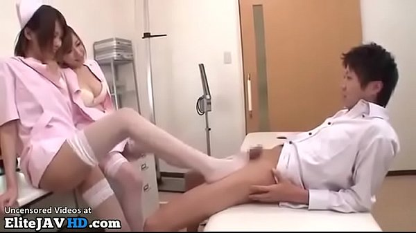 Japanese sexy nurses in stockings fuck their patient