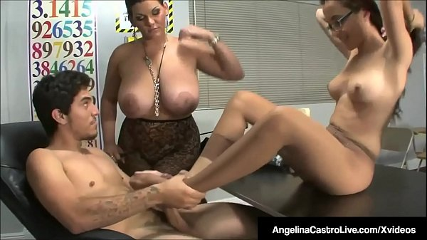 BBW Teacher Angelina Castro Makes Roxanne To Do Foot Job