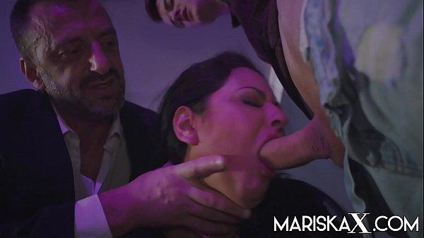 MARISKAX Mariska gets filled up by two big cocks Thumb