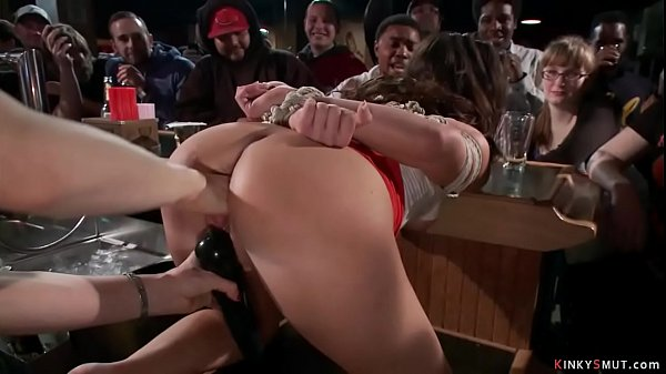 Hot tied brunette disgraced in bar Thumb