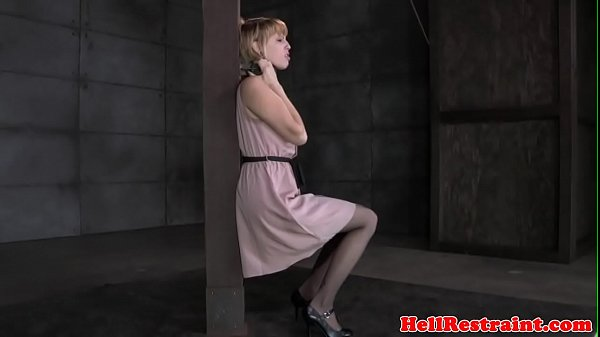 Ginger bdsm sub whipped while being tied up
